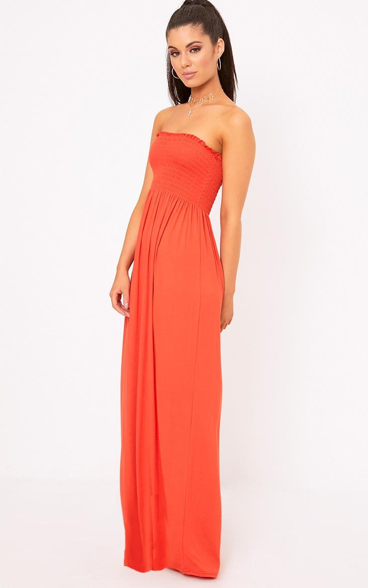 Orange Shirring Detail Bandeau Maxi Dress 1