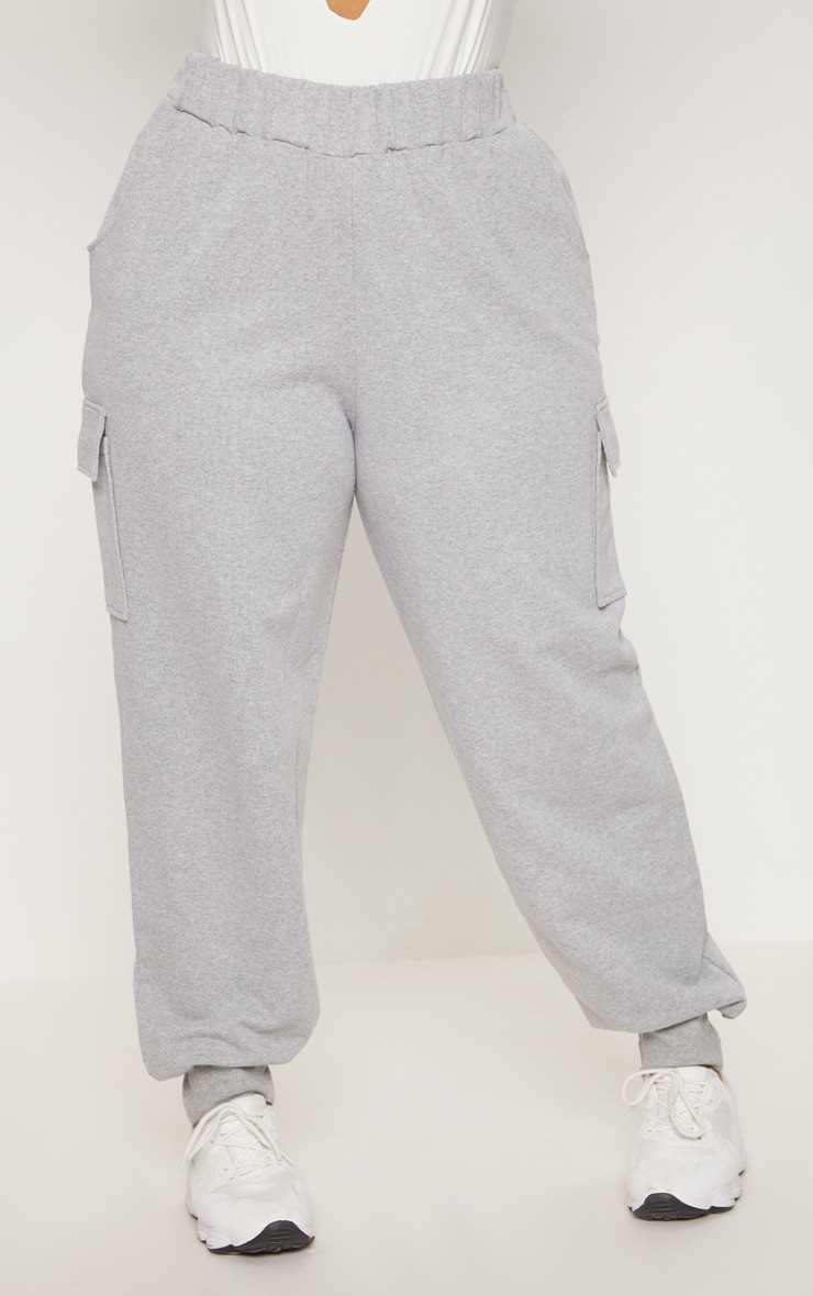 Plus Grey Pocket Detail Cargo Joggers 2