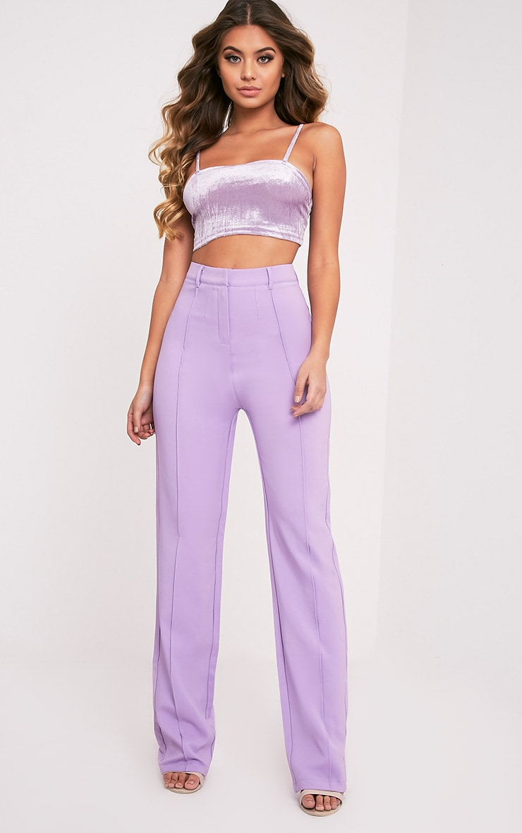 Anala Lilac High Waisted Straight Leg Trousers