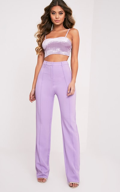Anala Lilac High Waisted Straight Leg Trousers fdc4d8510