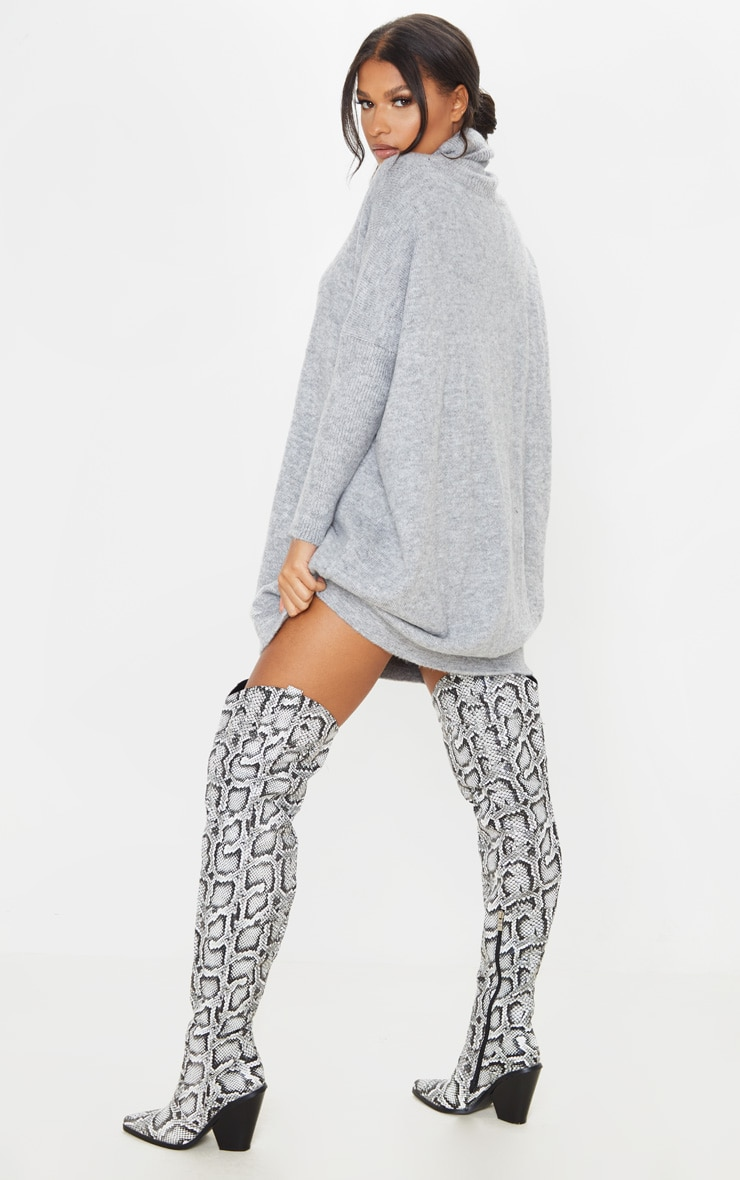 Grey Seam Front Funnel Neck Oversized Jumper Dress 4