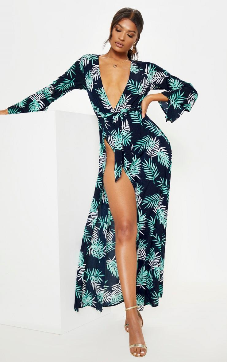 Navy Tropical Print Split Front Maxi Dress 3