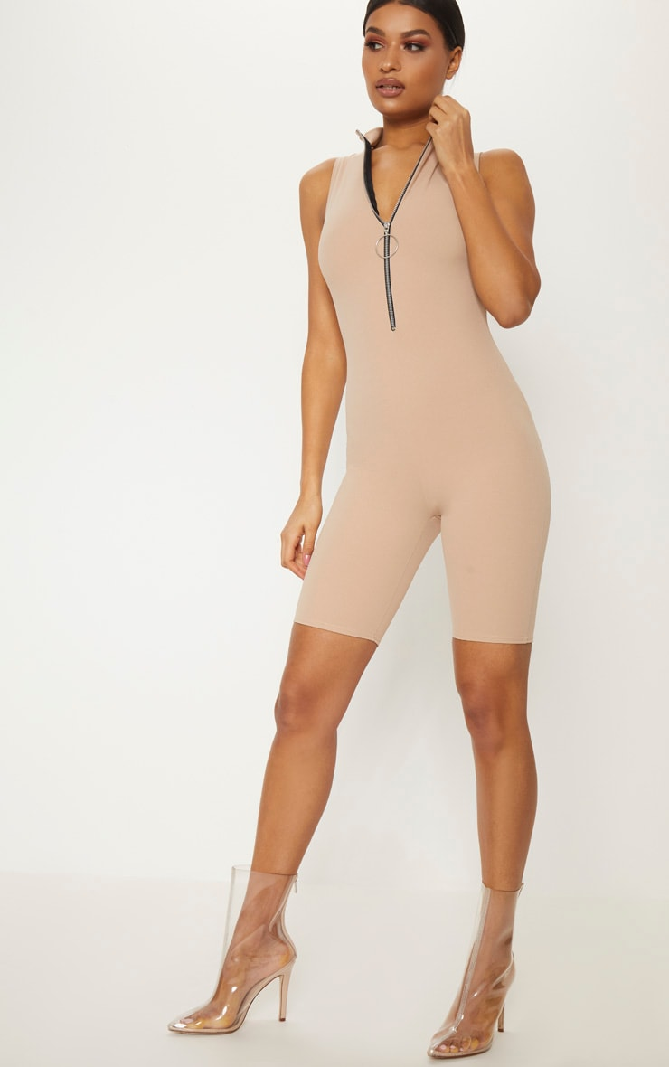 Stone Sleeveless O Ring Pull Unitard
