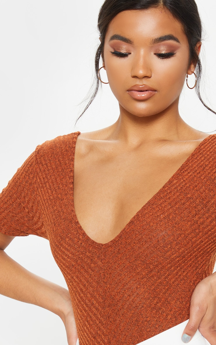 Orange Ribbed Knitted Short Sleeve Bodysuit 5