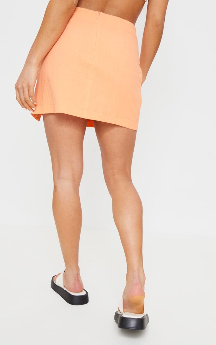 Petite Coral Split Detail Linen Look Mini Skirt 3