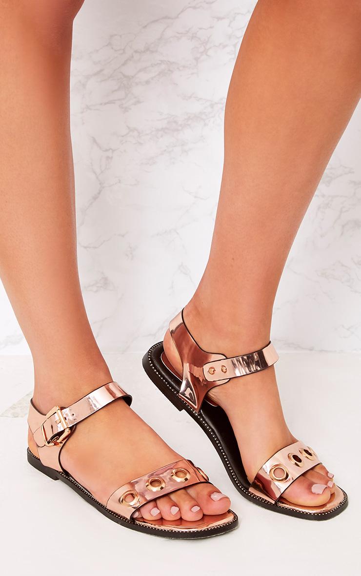 Marlene Rose Gold Metallic Eyelet Sandals 3