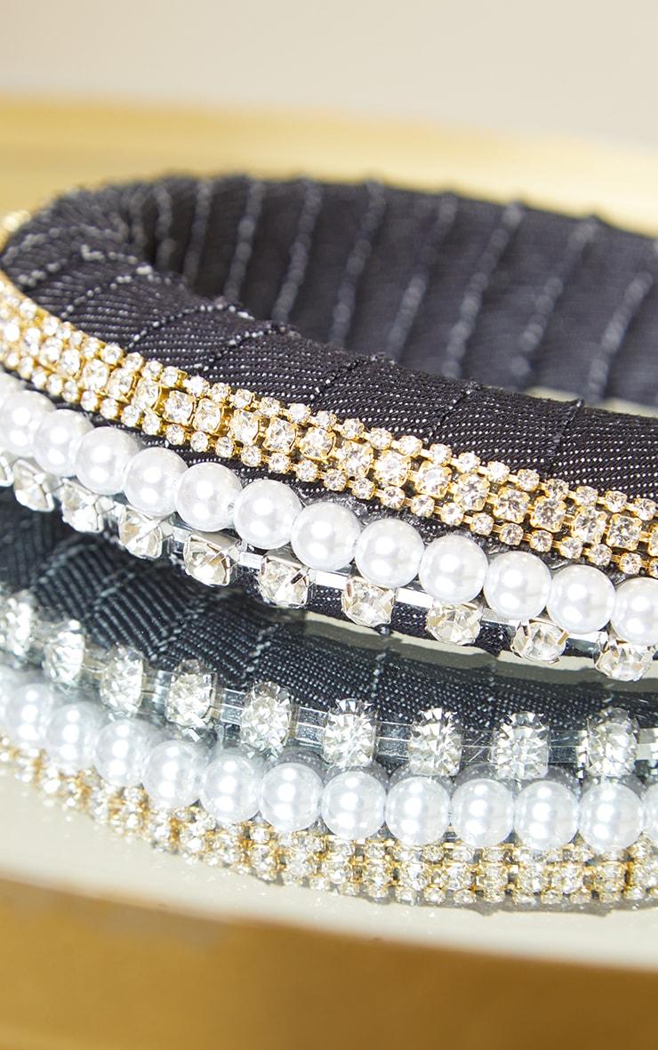 Black PU Double Diamante and Pearl Row Headband 3