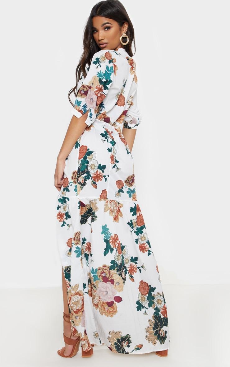 White Floral Button Front Split Maxi Dress 2