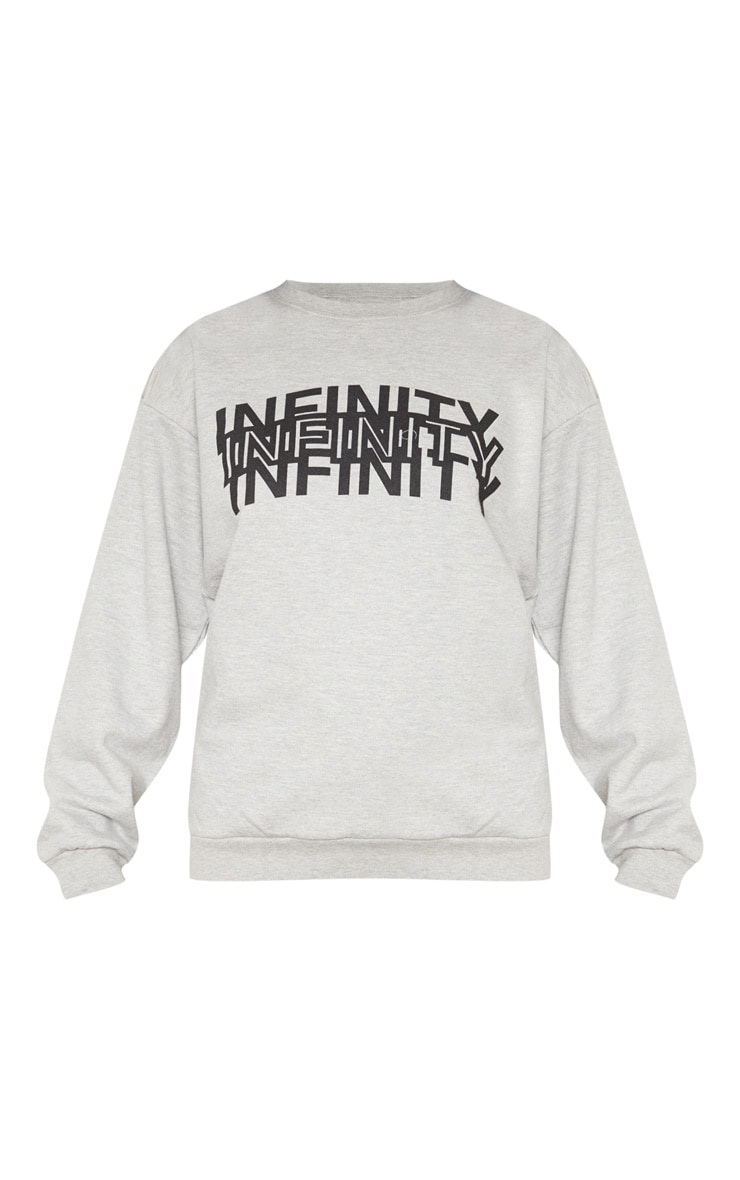 Grey Infinity Slogan Back Print Oversized Sweater 3