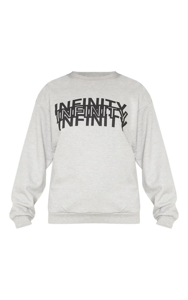 Grey Infinity Slogan Back Print Oversized Sweater 3