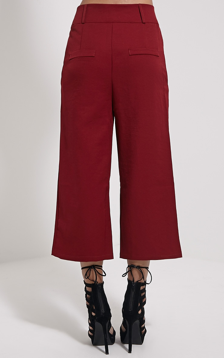 Harlow Burgundy High Waisted Culottes 4