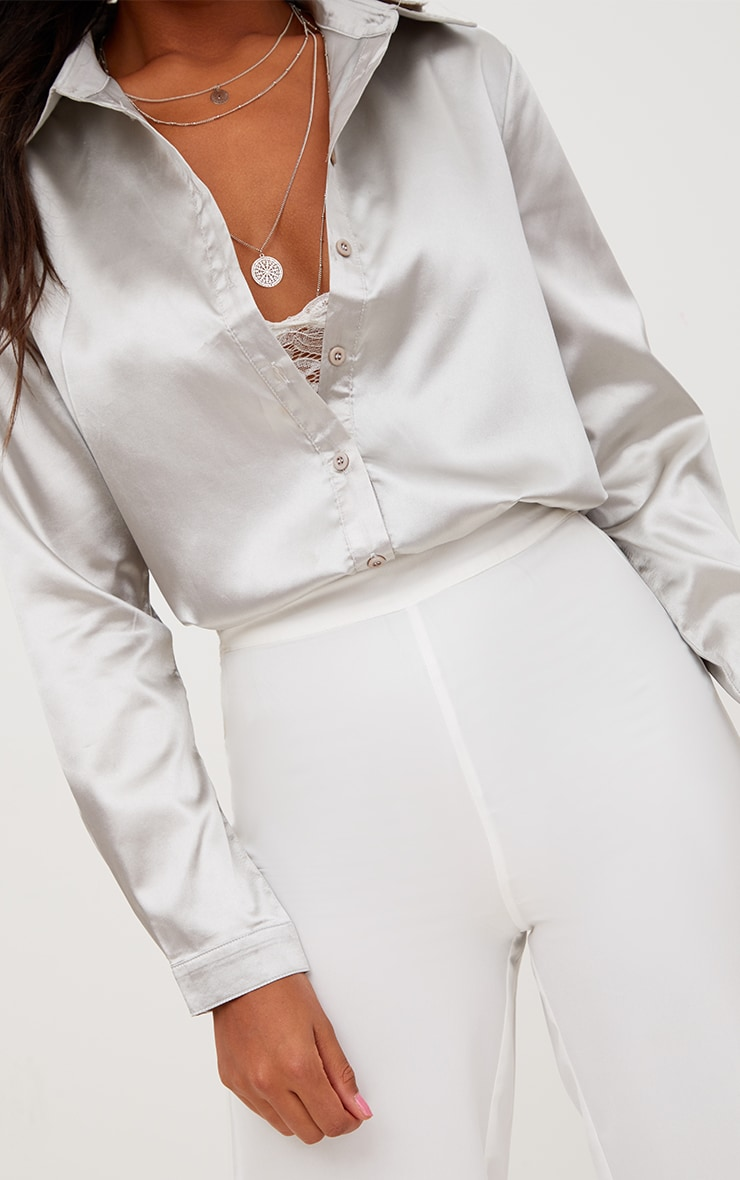 Truffle Satin Button Front Shirt 3