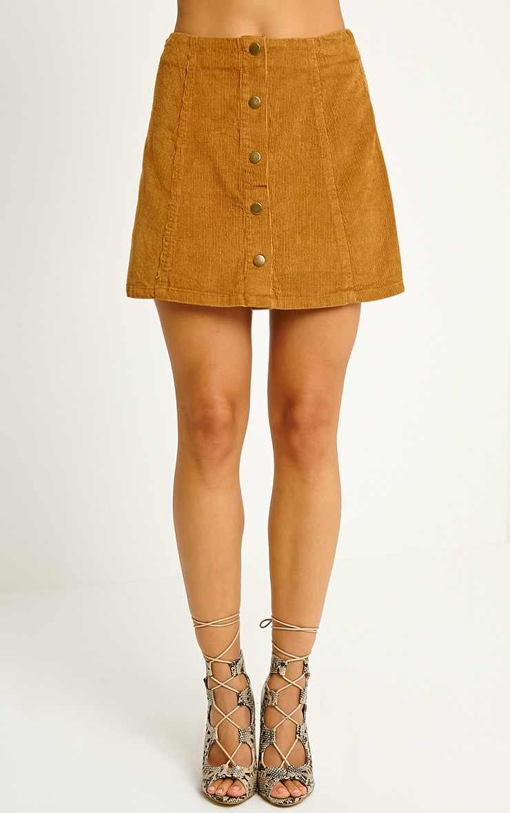 Turia Tan Cord Button Front Skirt 2