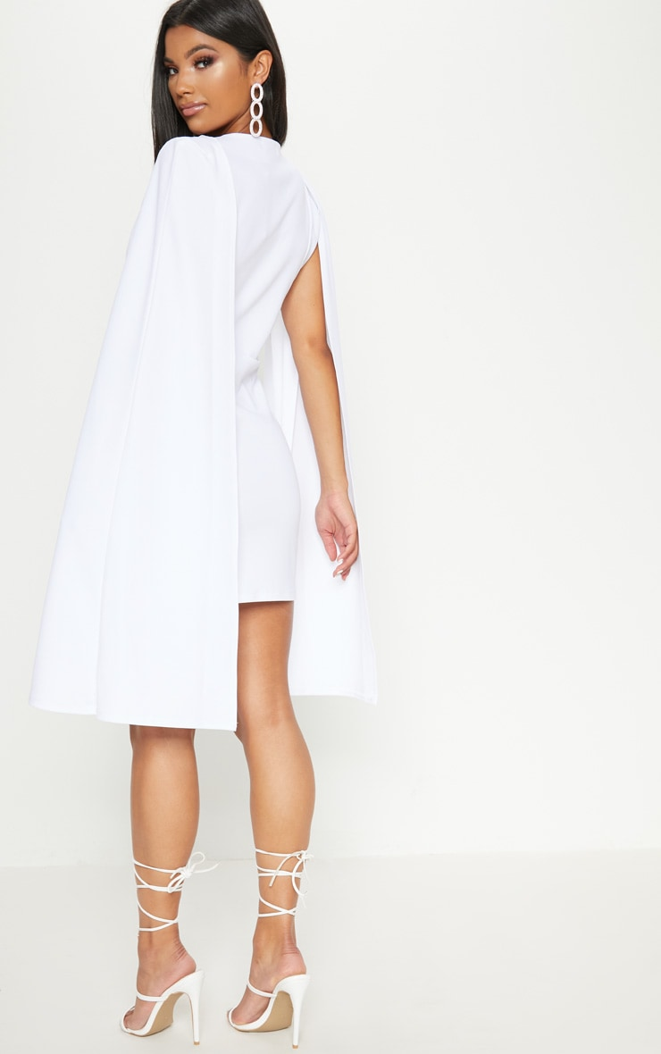 White Cape Blazer Dress 2