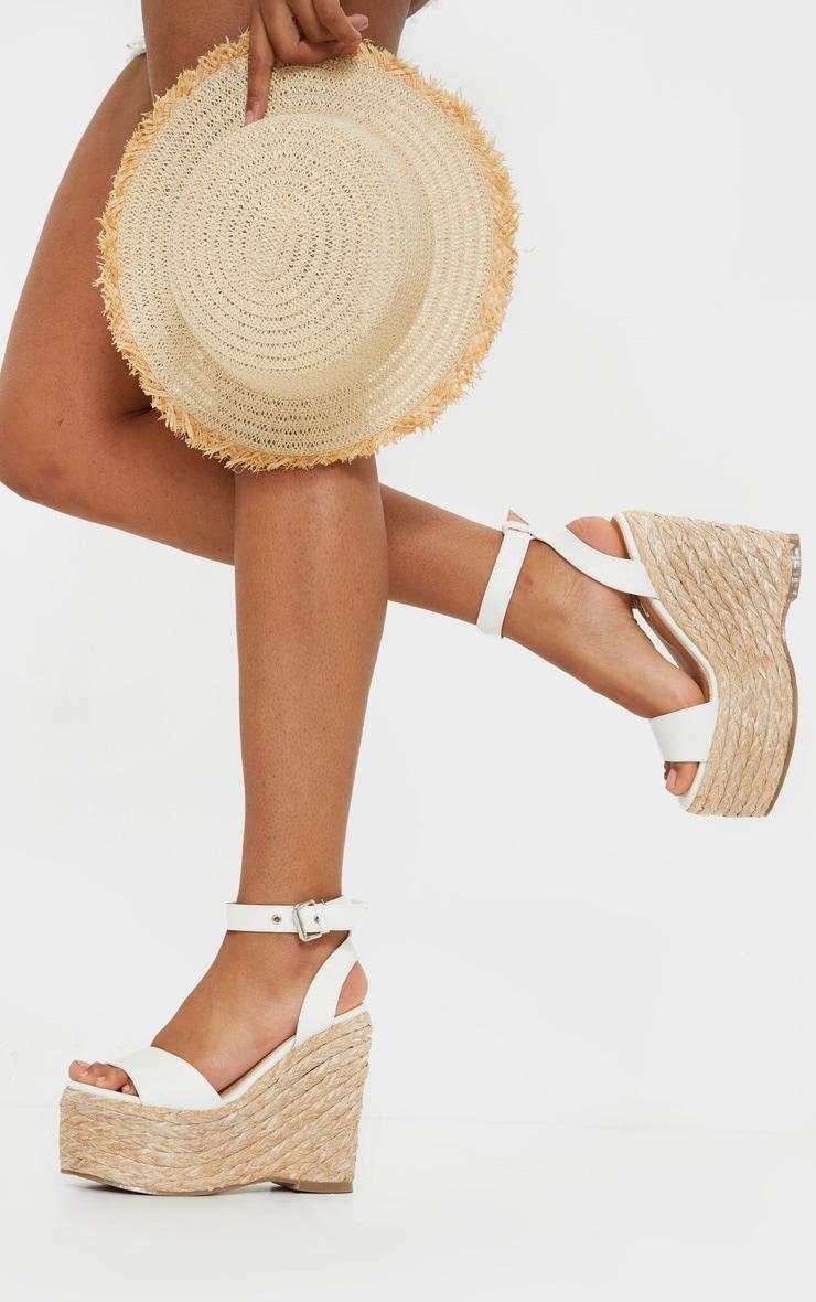 White Chunky Raffia Buckle Wedge Heel 1