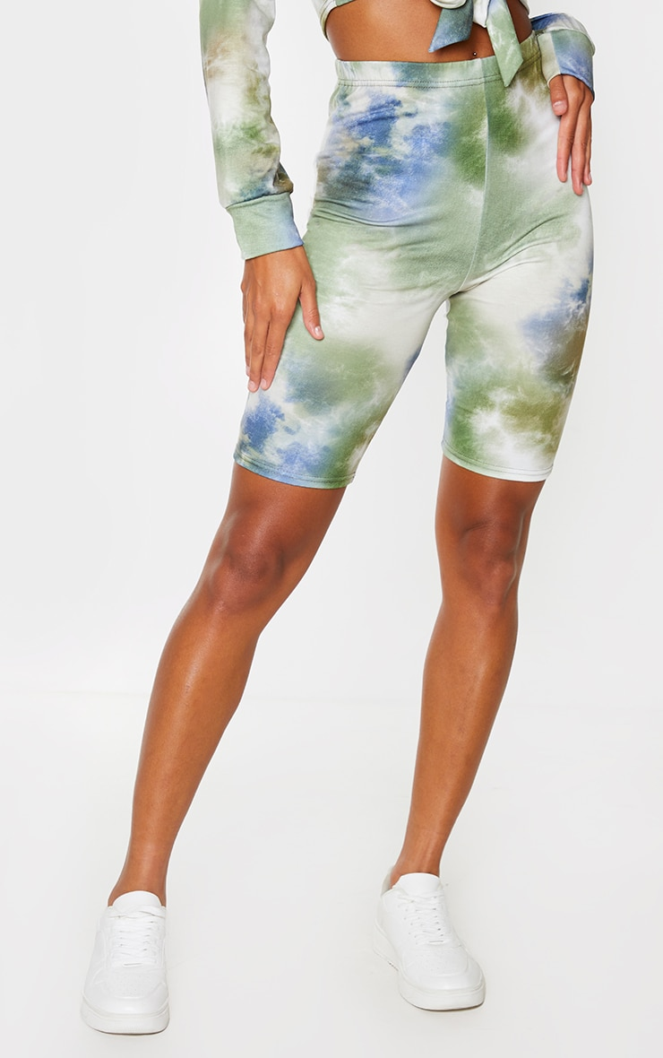 Sage Green Tie Dye Cycling Shorts 2