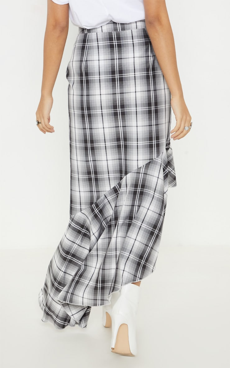 Petite Grey Check Frill Hem Midi Skirt 4