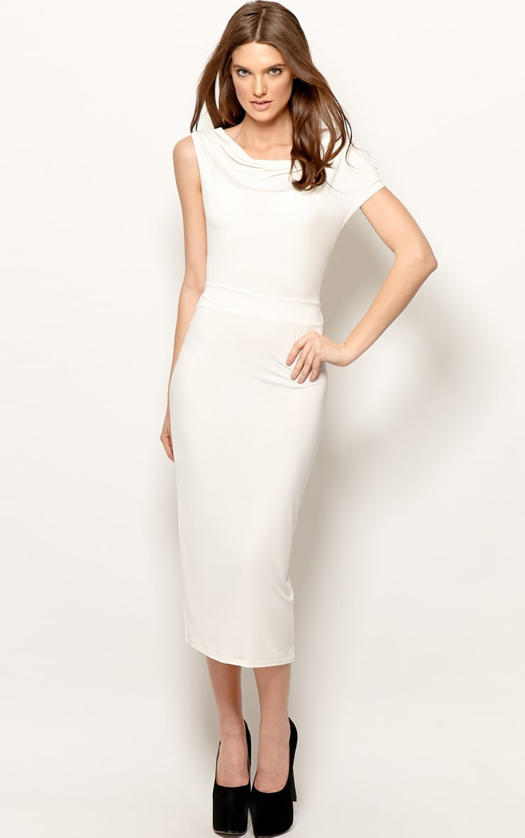 Chrissy White Silk Cowl Front Midi Dress 4