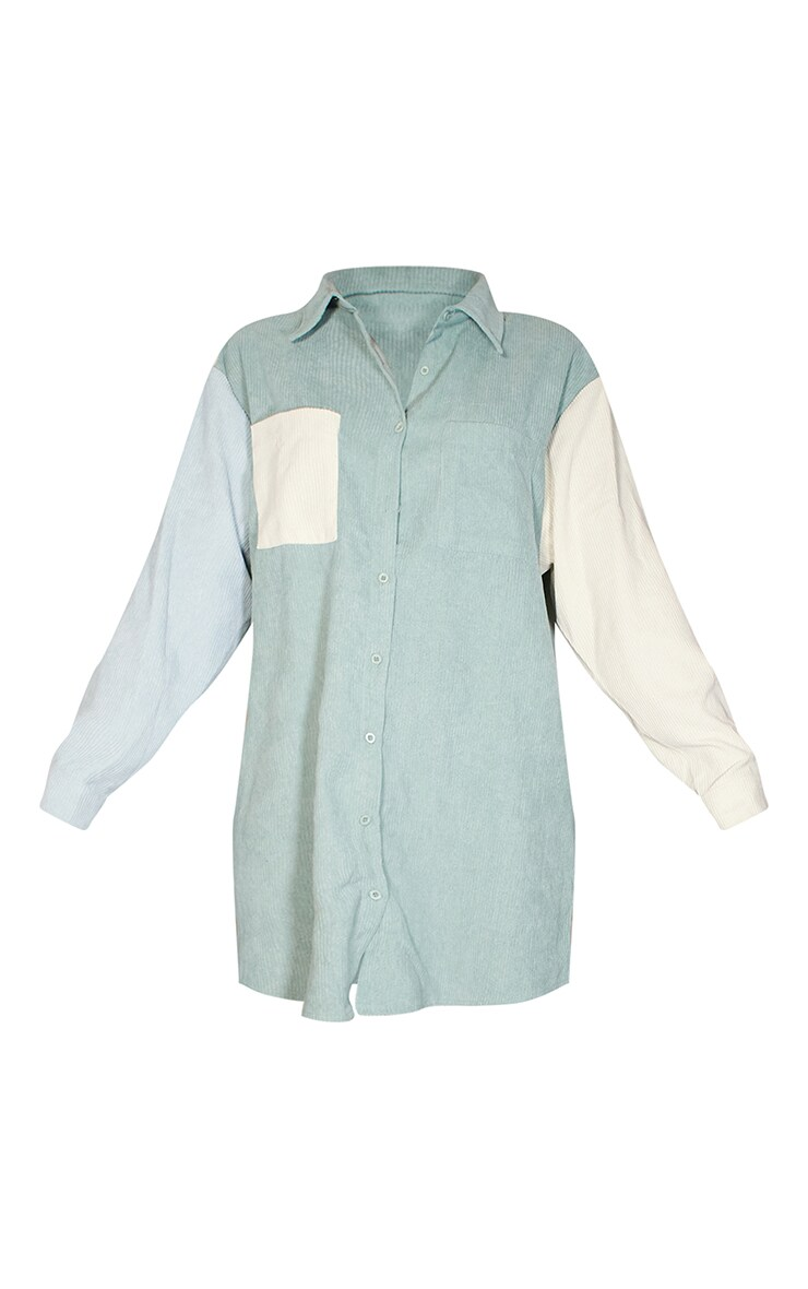 Sage Green Cord Pocket Front Oversized Shirt Dress 5
