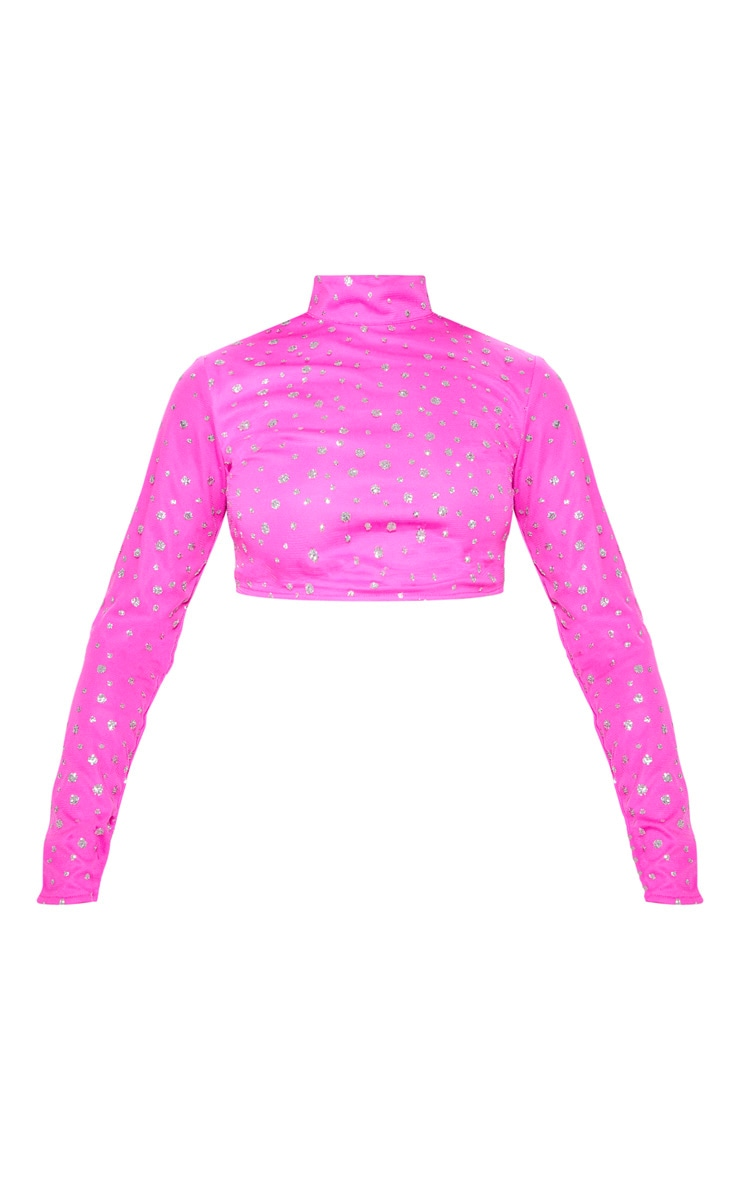 Hot Pink High Neck Glitter Mesh Crop Top 3