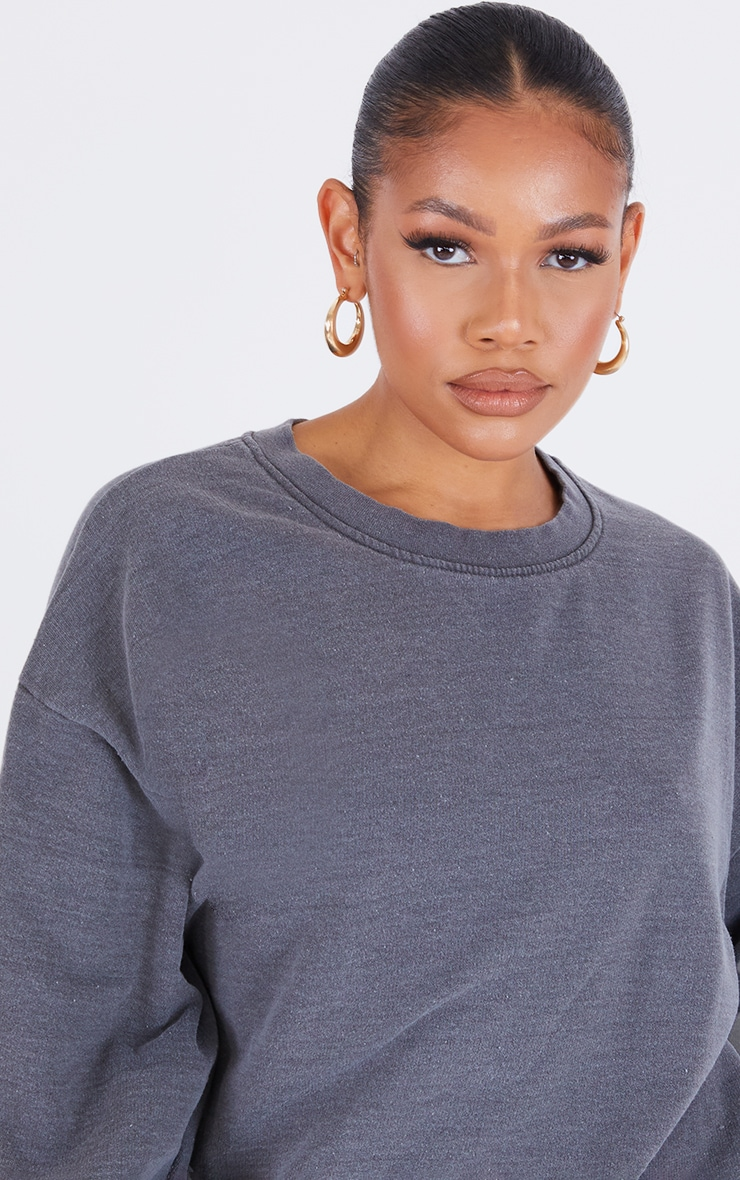 Recycled Charcoal Grey Washed Oversized Sweatshirt 4