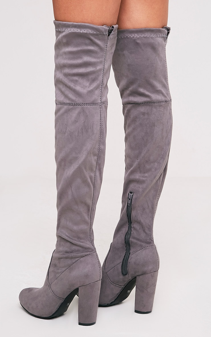 Bess Grey Faux Suede Heel Thigh Boots 5