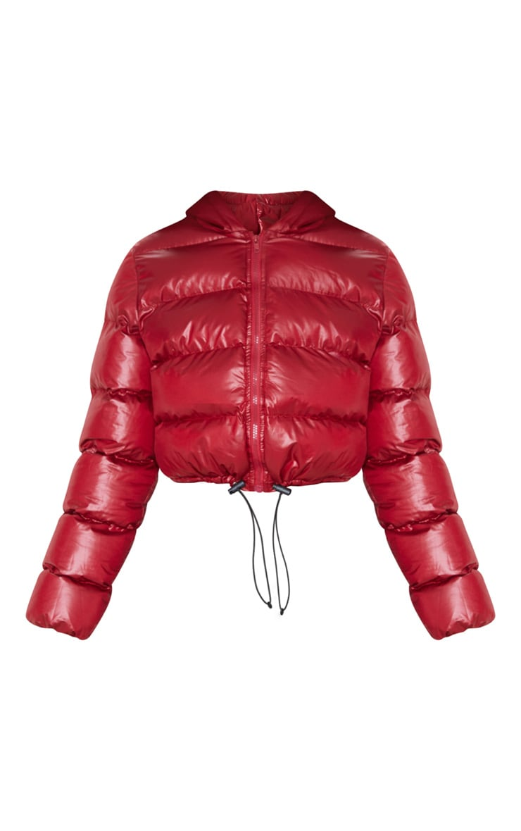 Burgundy Crop Toggle Detail Puffer 3