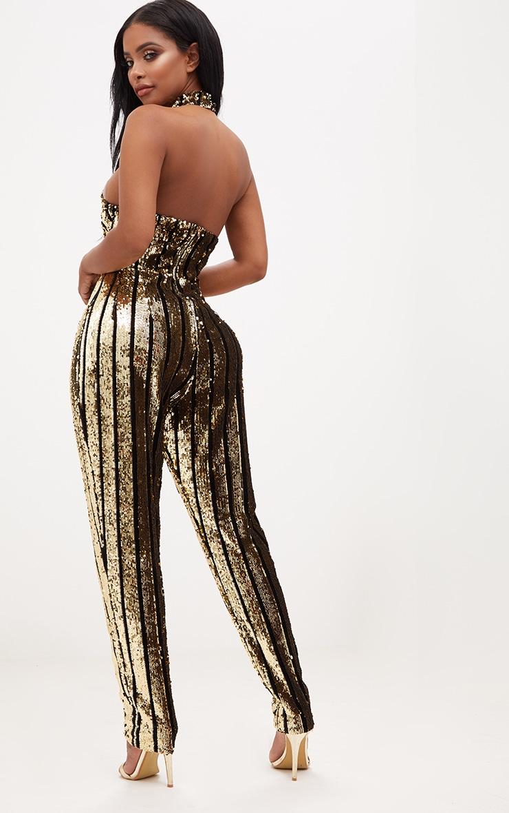 Shape Gold Sequin Halterneck Jumpsuit 2