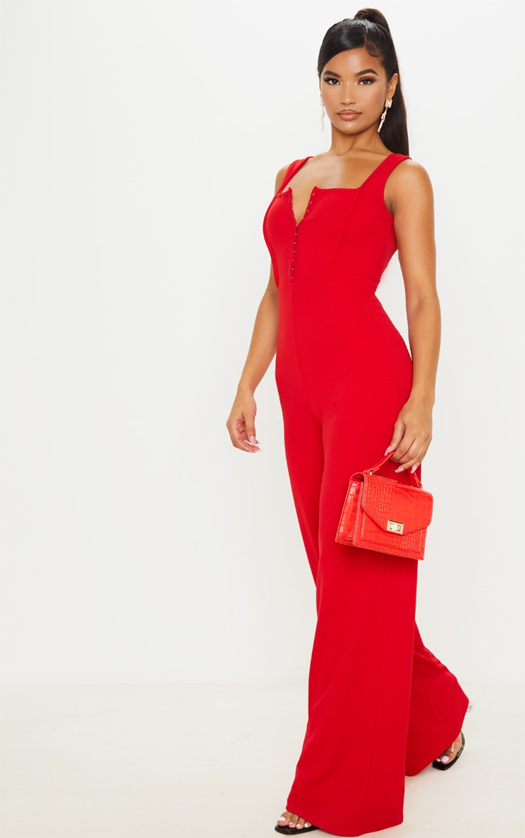 Red Square Neck Corset Jumpsuit 2