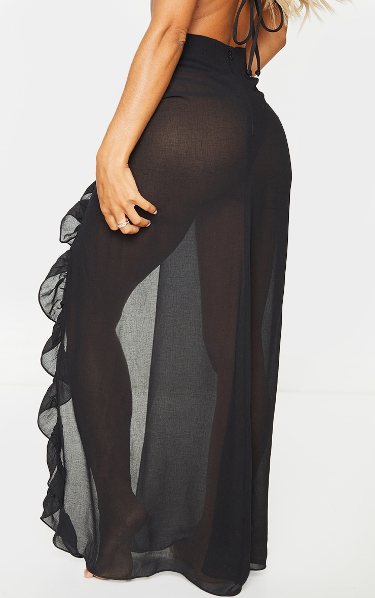 Black Frill Side Maxi Beach Skirt 3