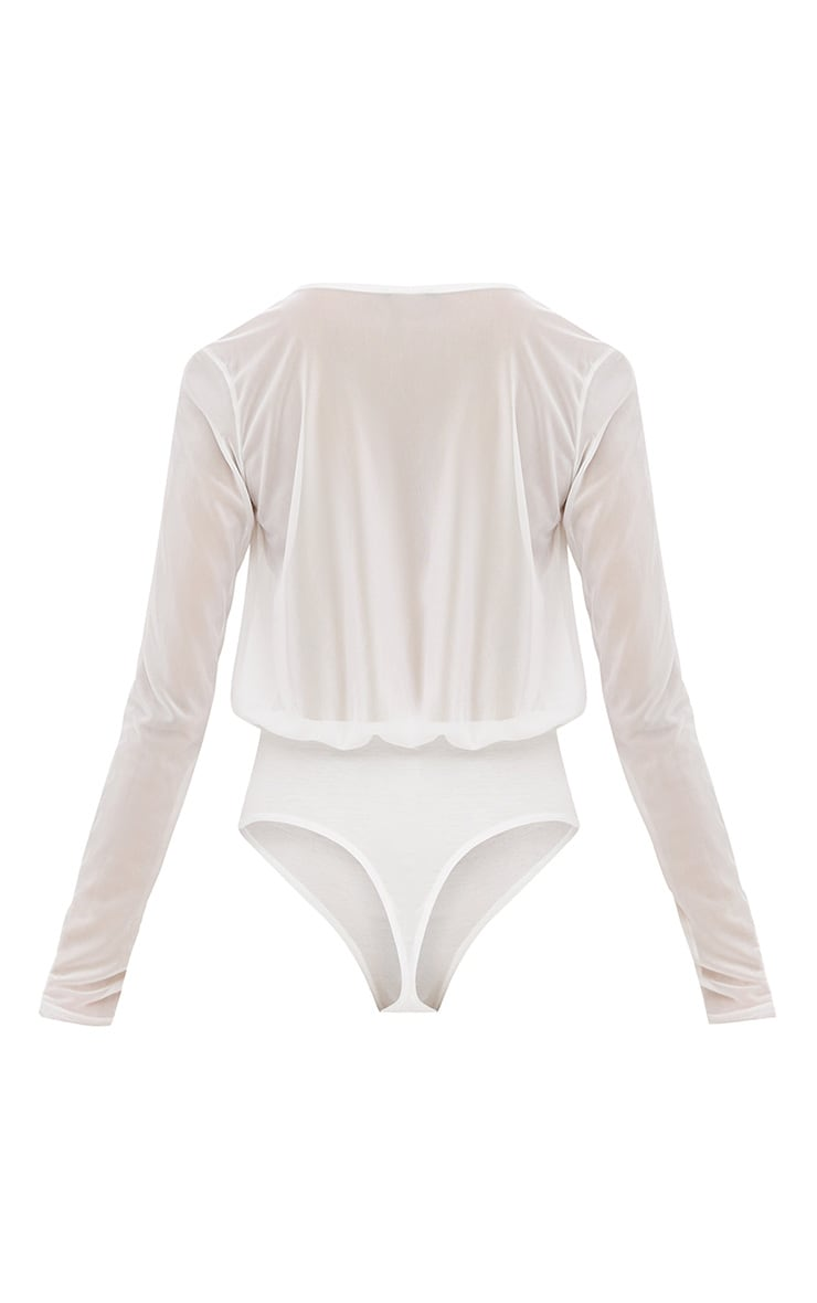 Cream Longsleeve Mesh V Neck Thong Bodysuit 4