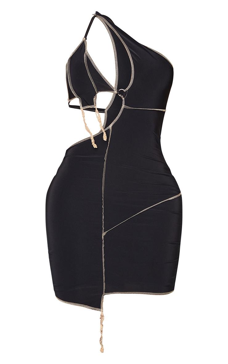 Shape Black Slinky Overlock Ring Detail Cut Out Bodycon Dress 5