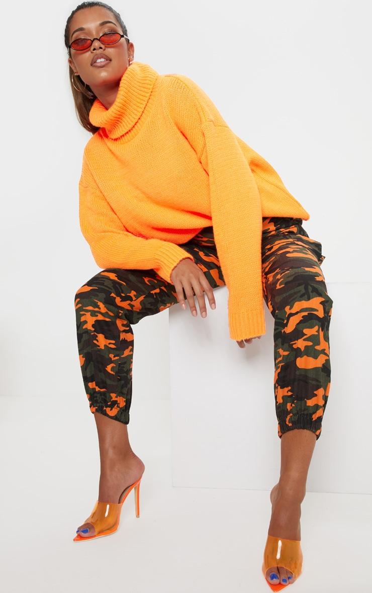 Bright Orange High Neck Fluffy Knit Jumper  4