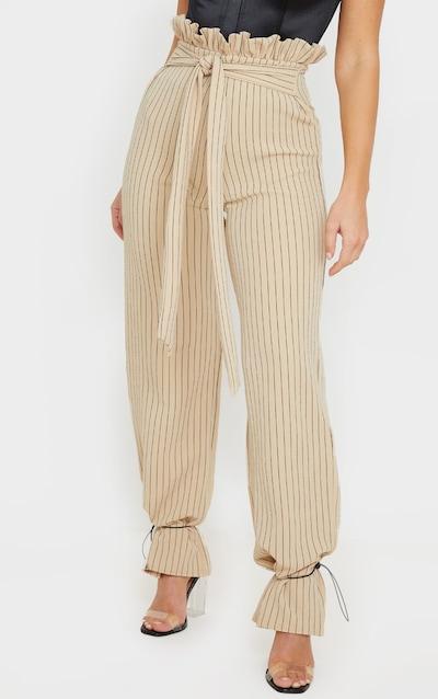 Stone Pinstripe Drawstring Hem Paperbag Waist Trousers