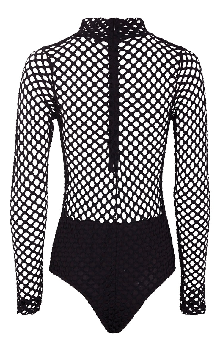 Annika Black Fishnet Panel Long Sleeve Bodysuit 4