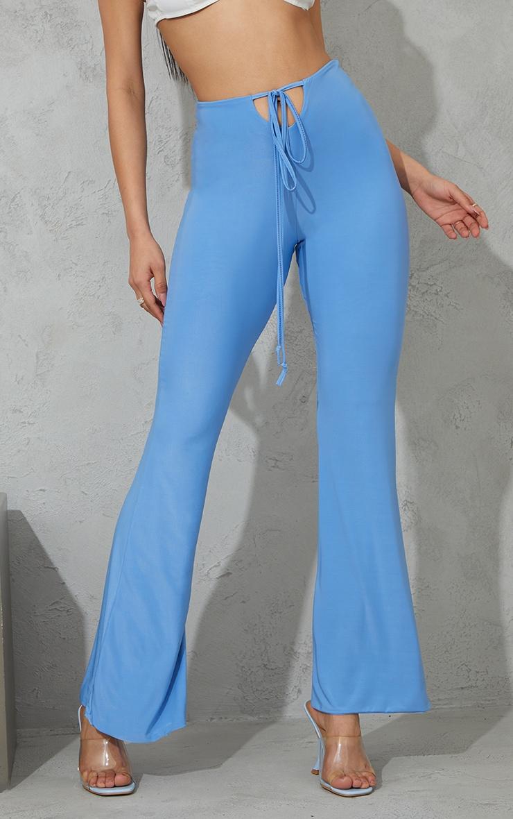 Blue Slinky Keyhole Flared Trousers 2