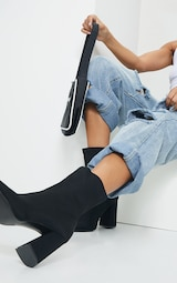 Black Wide Fit Block Heeled Point Toe Sock Boots 2