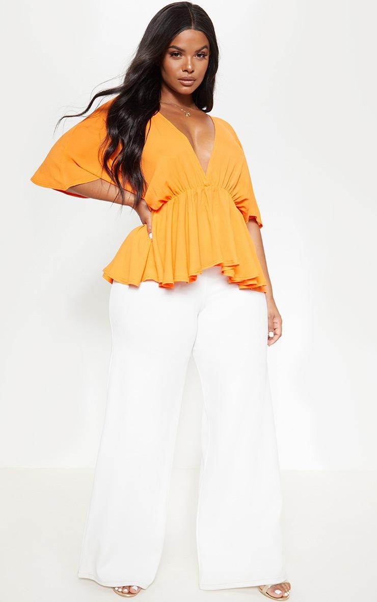 Plus Bright Orange Chiffon Plunge Short Sleeve Peplum Top 4