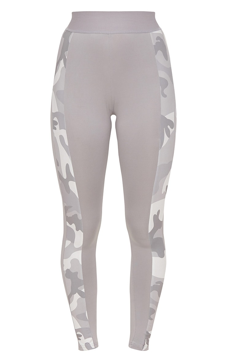 PRETTYLITTLETHING Grey Leggings with Grey Camo Contrast 3