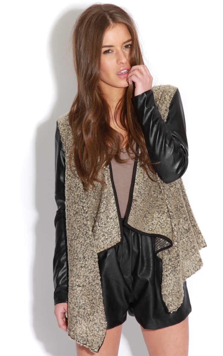 Alicia Beige Leather Sleeve Waterfall Style Cardigan  5