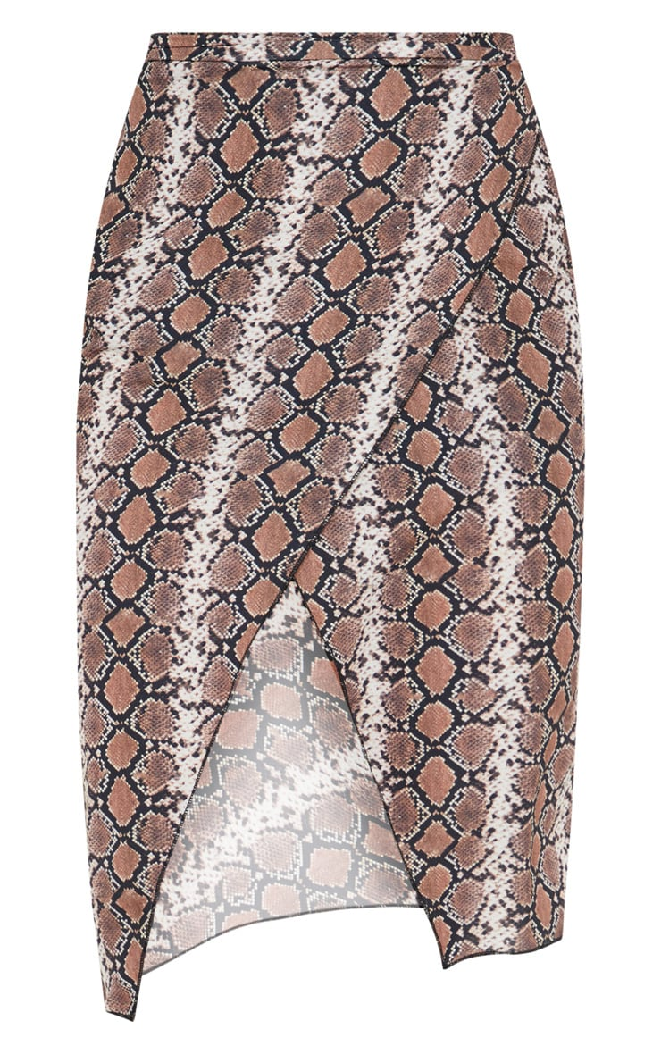 Petite Brown Snake Print Wrap Pencil Skirt  3