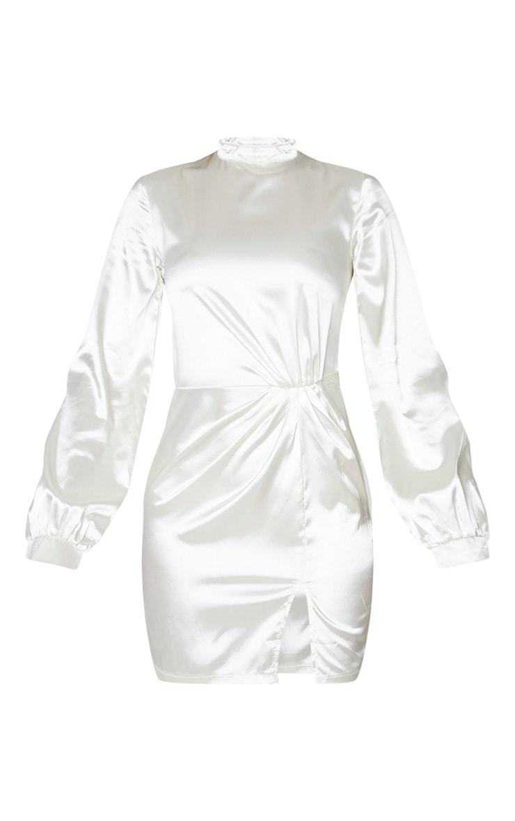 Tall Cream High Neck Split Satin Long Sleeve Dress 5