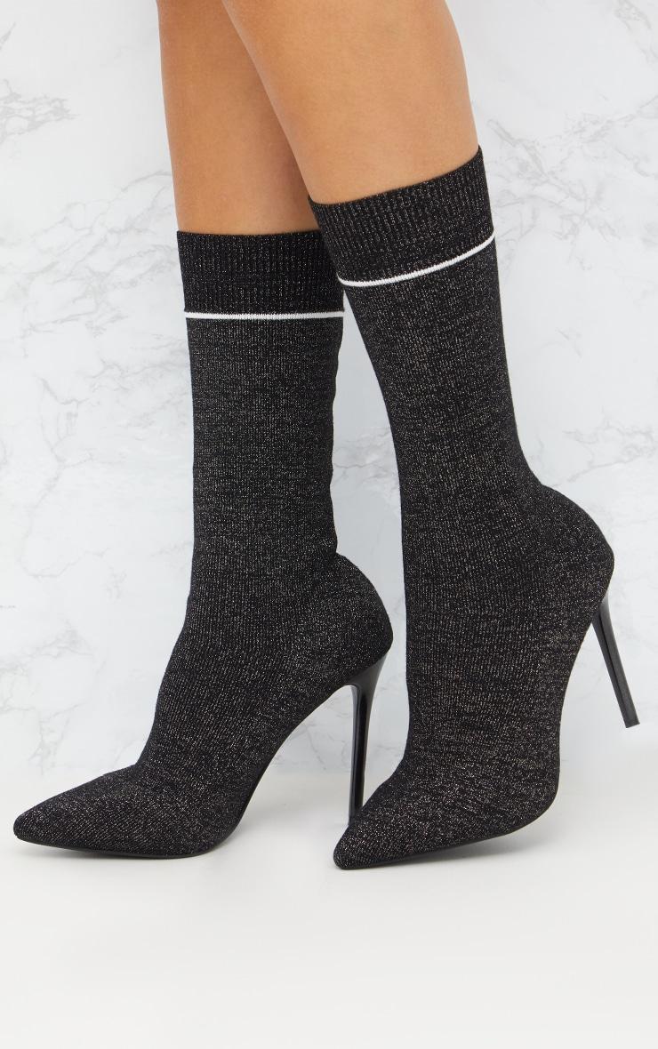 Black Glitter Sports Stripe Sock Boot 1