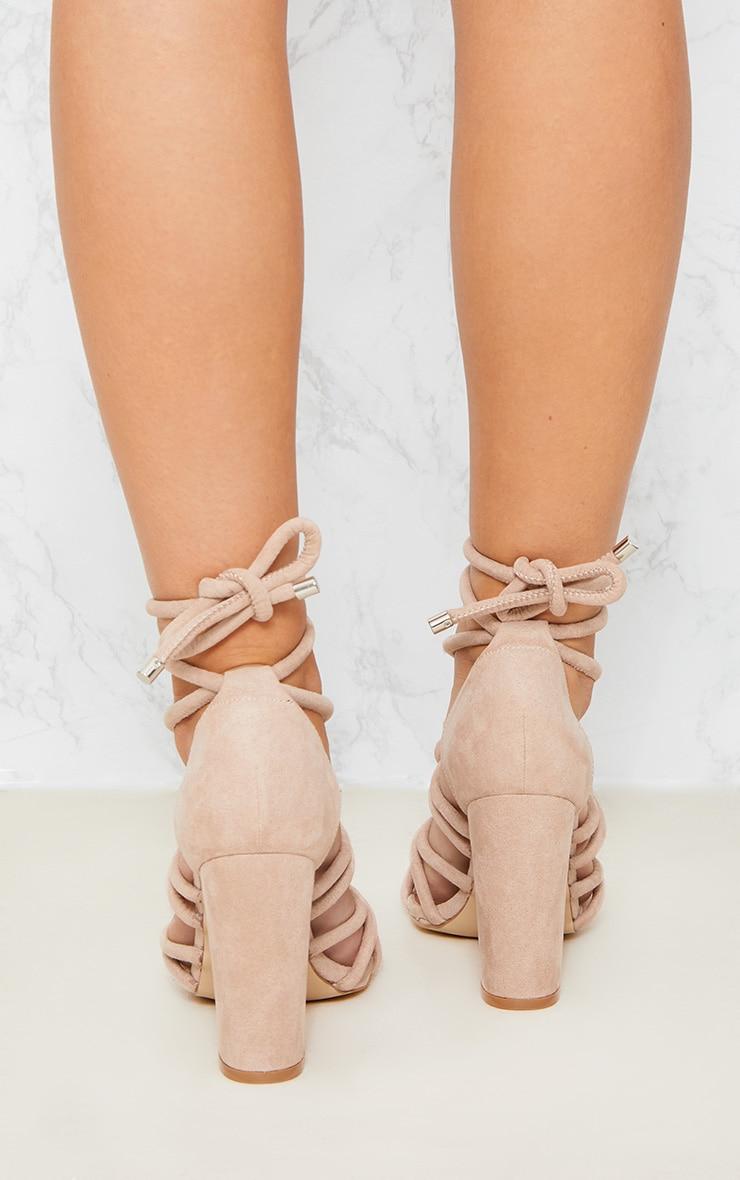 Beige Knotted Rope Ankle Tie Block Heels 2