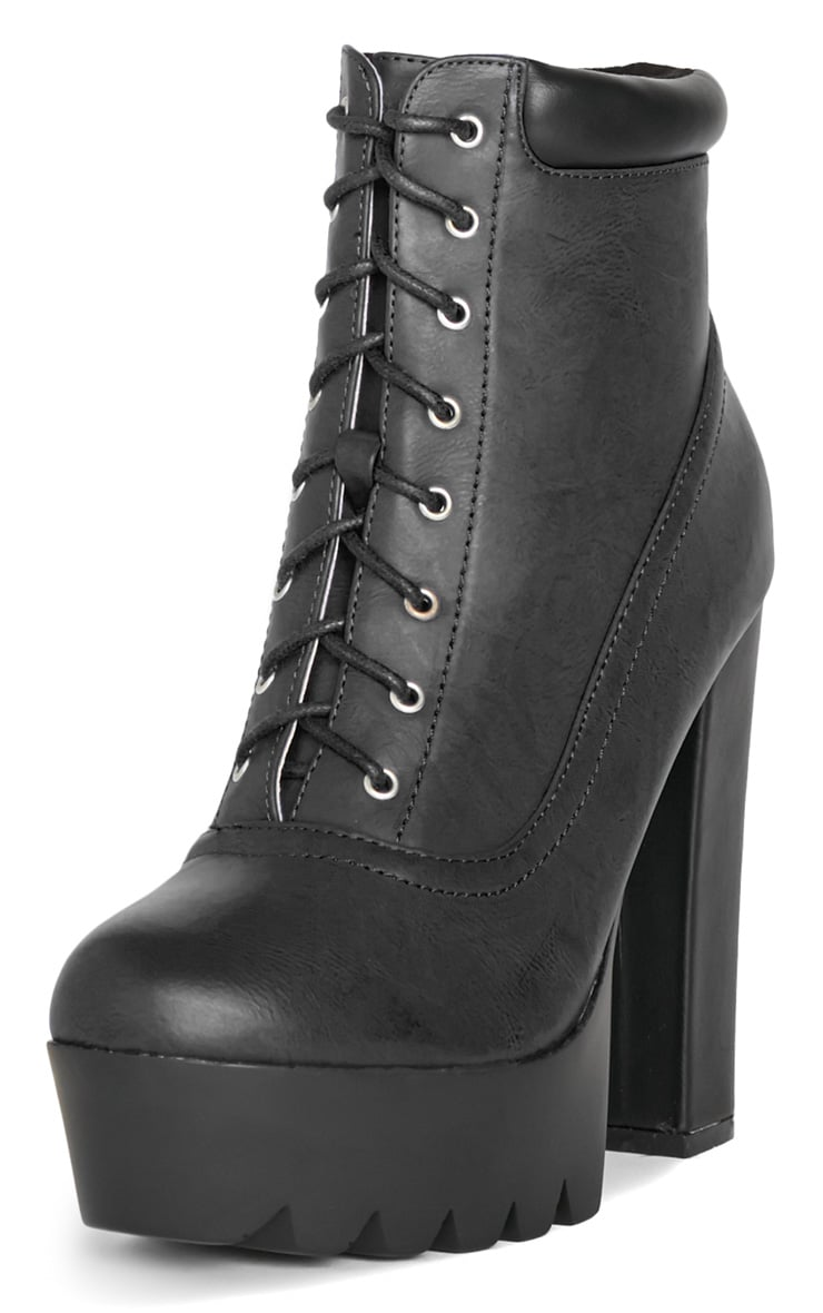Anusha Black Lace Cleated Sole Platform Boot 4