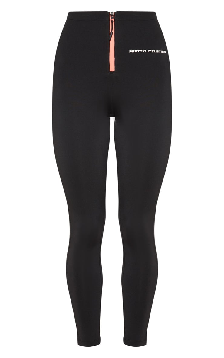 PRETTYLITTLETHING Black Zip Up Front Gym Legging 3