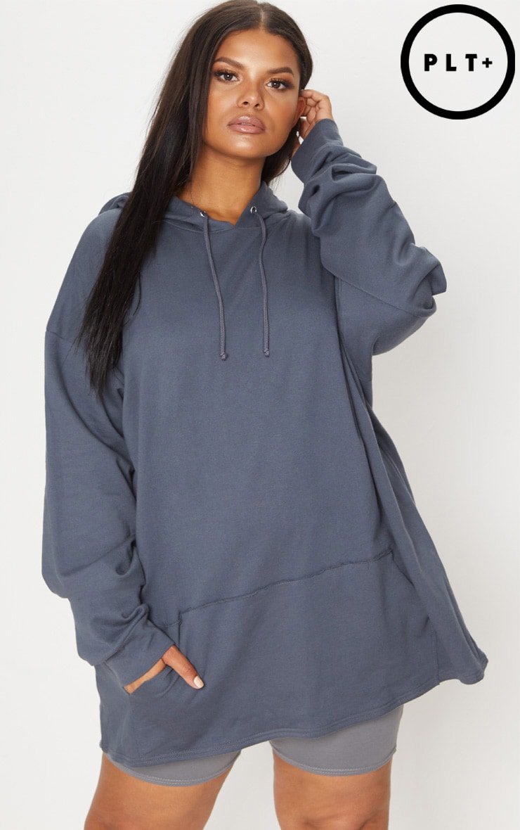 Plus Charcoal Oversized Hoodie 1