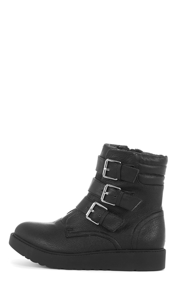 Honor Three Buckle Zip Detail Biker Boot  1