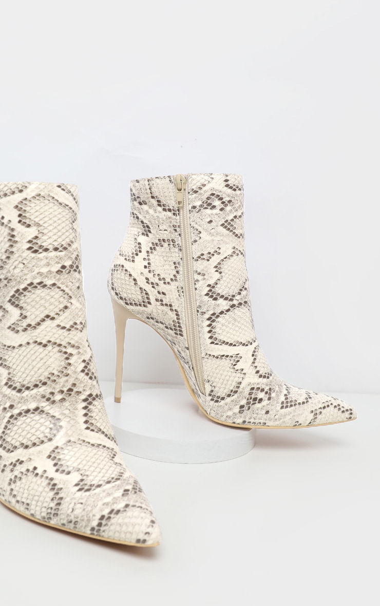 Beige Snake Point Toe Stiletto Heel Ankle Boot 4