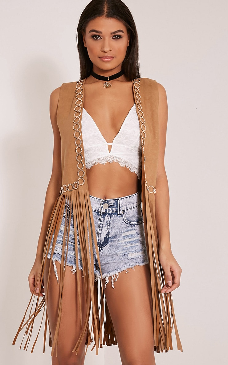 Bili Tan Faux Suede Ring Detail Fringed Waistcoat 1